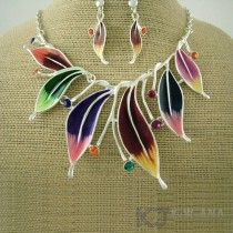 colourful leaves silver necklace set