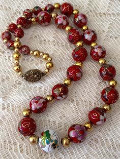 Vintage Red Glass Cloisonné Beaded Necklace  by ViksVintageJewelry