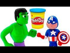 HULK VS CAPTAIN AMERICA BATMAN SPIDERMAN PLAY DOH STOP MOTION VIDEOS SUPERHEROES PRANK VIDEOS - YouTube