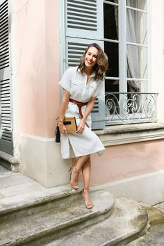 Louise Roe takes our Linen Blend Shirtdress to the French Riviera, and it's a perfect fit.
