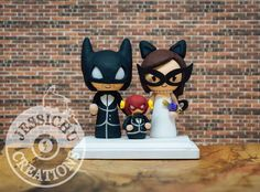Batman and Catwoman with Flash Child, Wedding Cake Topper & Custom Figurines…