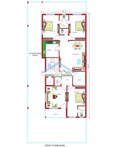 Make My House Featured House Design Plan - :    TWO STOREY HOUSE-40 FT X 100 FT    Bathroom - 6  Bedroom - 6  Floors - 2  Kitchen - 2  Living Room - 2  Living Area 2190  Vastu :Enable  Property Type :Residential  Direction :North    Breakfast Nook, Column