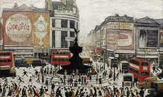 LS Lowry painting of London's bustling Piccadilly Circus