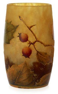 A Daum Art Nouveau glass vase, Nancy, France.