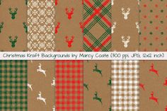 Christmas Kraft Backgrounds - Christmas Digital Papers by Marcy Coate