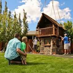 """""""That's what makes this job unreal."""" This Canadian Dad Is The World's Greatest Builder Of Luxury Playhouses Luxury Playhouses, Shed Playhouse, Swing And Slide, Fairytale Castle, She Sheds, Outdoor Playground, Colorado Mountains, Outdoor Landscaping, Go Outside"""