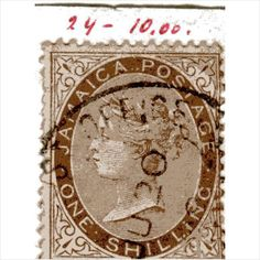 QV Jamaica 1s Brown (SG24) used with Post Office date stamp cancel