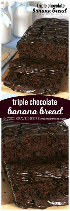 You searched for Triple chocolate banana bread – Spend With Pennies If you love chocolate, you're definitely going to LOVE this Triple Chocolate Banana Bread! With a triple load of chocolate, it's deliciously decadent and easy to make! Just Desserts, Delicious Desserts, Dessert Recipes, Yummy Food, Chocolate Banana Bread, Chocolate Recipes, Chocolate Muffins, Chocolate Chocolate, Dessert Bread