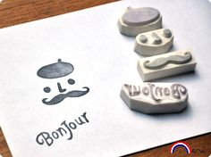 French Touch Mustache hand carved rubber stamp set bonjour. $20.00, via Etsy.