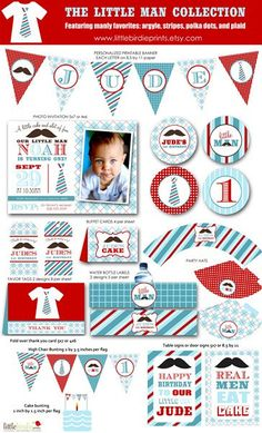 Little man or Mustache bash printable party hats for first birthday party INSTANT DOWNLOAD