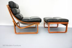 Mid Century Tessa T4 Armchair Ottoman Leather Retro Vintage Lounge Chair Stool | 360 Modern Furniture