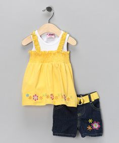 Take a look at this Yellow Layered Smocked Tank & Shorts - Infant, Toddler & Girls by Blow-Out on #zulily today!