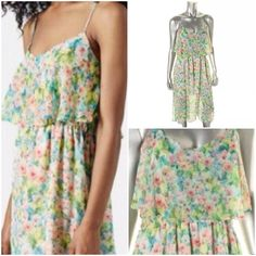 "Top Shop Floral Dress Chiffon floral sundress with spaghetti straps, high waist and ruffle front, partially lined..100% polyester..Length:45"", bust:36"", waist:28"" Topshop Dresses Midi"