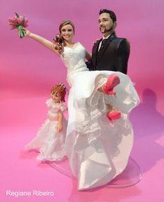 Regiane Ribeiro Studio: Realitní Cake Top - nevěsta ženicha klín a čest květin - Uxa a Caesar - Jaú - São Paulo