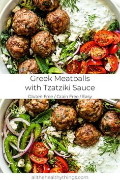 Greek Meatball with Tazatziki Sauce This recipe for flavorful juicy Greek meatballs filled with fresh herbs is a quick and easy recipe that is perfect for your weekly meal prep or a 30 minute weeknight dinner. #meatballs #greek #tazatziki Easy Mediterranean Diet Recipes, Mediterranean Dishes, Meat Recipes, Cooking Recipes, Healthy Recipes, Recipes Dinner, Chicken Recipes, Oven Recipes, Vegetarian Cooking