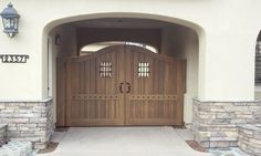 Custom Wood Faux Double Gate by Garden Passages. This gate is prepped for automation / motorization. Double Gate, Tuscan Style, Spanish Style, Custom Wood, Tall Cabinet Storage, Gates, Building, Design, Home Decor