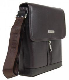Menší pánská crossbody taška E601 tmavá hnědá - Kliknutím zobrazíte detail obrázku.