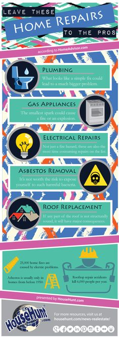 5 Home Repairs You Should Never Do Yourself #Infographic : http://www.househunt.com/news-realestate/5-home-repairs-you-should-never-do-yourself/