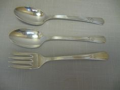 International Silver Co  Wm Rogers Mfg 2 Teaspoons 1 Salad Fork Sovereign 1939 #InternationalSilverCo