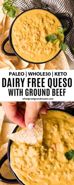 Dairy Free Queso Dip with Ground Beef (Paleo, Keto) This dairy free queso dip with ground beef is made with cauliflower and cashews, but you'll never know it by its amazing taste and texture! Perfect for the Super Bowl or any game day. Dairy Free Queso, Dairy Free Cheese, Dairy Free Recipes, Paleo Recipes, Paleo Food, Paleo Diet, Paleo Meals, Gluten Free, Dairy Free Meals