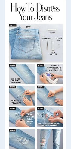 10 Awesome Denim Hacks That You Can & # Don't ignore if you love to wear jeans – DIY – Clothing Hacks How To Make Ripped Jeans, Torn Jeans, Jeans Skinny, How To Make Shorts, Denim Jeans, Outfit With Ripped Jeans, Diy With Jeans, Cute Jeans, Denim Overalls