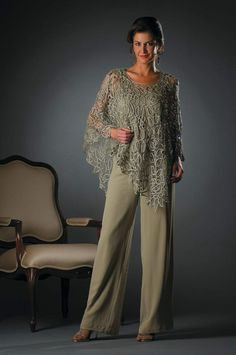 This Special Occasion Dress is RETURNABLE! This gorgeous floral crochet poncho is elegant, comfortable and easy to wear gives trendy young looking, perfect for any event. Color: Celadon Silk Hand-made Dry Clean Imported Mother Of The Bride Trousers, Mother Of The Bride Dresses Long, Mother Of Bride Outfits, Mother Of The Bride Plus Size, Mother Of The Bride Trouser Suits, Wedding Pantsuit, Wedding Attire, Long Sleeve Evening Gowns, Evening Dresses