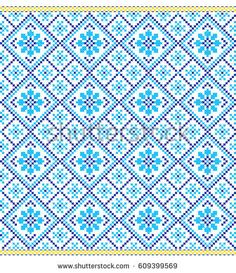 seamless embroidered good like old handmade cross-stitch ethnic Ukraine pattern. Ukrainian towel with ornament, rushnyk called, in vector