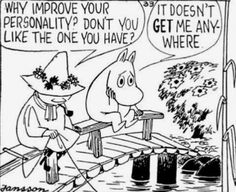 ✨Snufkin memes, quotes, etc✨ Credit to Tove Jansson and the owners of all the art and memes♡ Moomin Cartoon, The Awkward Yeti, Moomin Valley, Tove Jansson, Little My, Kawaii Anime, Comic Strips, Troll, Illustration
