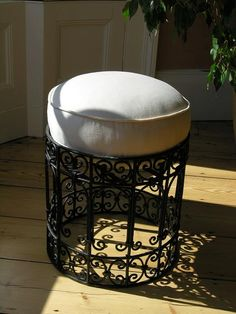 Moroccan wrought iron stool with cream canvas cushion Moroccan Home Decor, Moroccan Furniture, Moroccan Lamp, Moroccan Design, Iron Furniture, Home Furniture, Soft Furnishings, Decoration, Wrought Iron