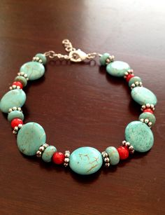 Tribal inspired turquoise red and silver beaded bracelet by TheFloralFern