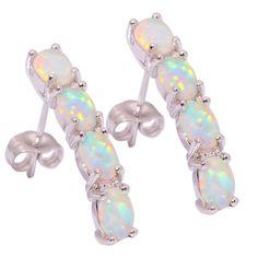 """Unique White Fire Opal Women Jewelry Gemstone Silver Stud Earrings 1"""" Oh1406"""