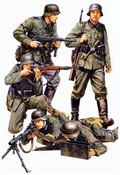 2 WK - Deutsche Infanterie | 1:35 - Tamiya Figuren-Set German Infantry (French Campaign) Bausatz #35293 (http://t1p.de/1001modellbau-de-tamiya35293)