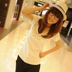 Sweet Rivet Embellished V-Neck Short Sleeves T-Shirt For Women