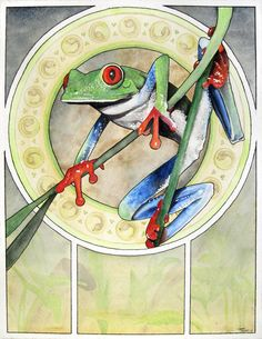 Tree Frog original watercolor painting by corbettsparks on Etsy