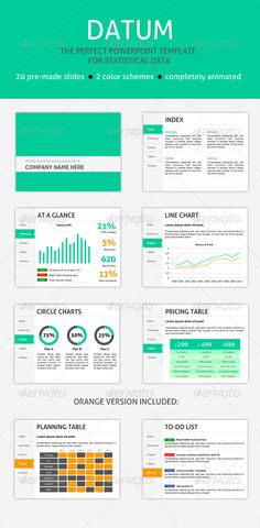 Datum: PPT Template for Data #GraphicRiver Wether you're attending a high school or university or work for a company, chances are you'll need to present some statistical data. Graphs, charts and tables will be your main focus during this presentation. That's where this presentation comes in handy. Datum was created with a single purpose: to showcase data in a beautiful way. Features Datum has several handy features that will come in handy: 20 pre-made slides: To help you get started, Datum…