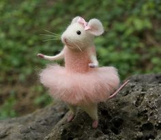 Mouse ballerina, Needle felt mouse, Felt ballerina mouse, White mouse, Needle felt animal, Needle felt miniature, Birthday gift, Home decor by DemannaArt on Etsy https://www.etsy.com/listing/294787047/mouse-ballerina-needle-felt-mouse-felt