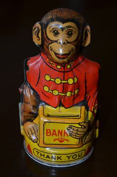 Vintage Chein & Co Mechanical Monkey tin bank Circus