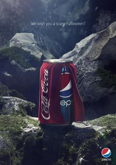 Nice Pepsi Halloween clever ad from Belgium. This ad would be even better if it was in context on a dark street somewhere. Instead due to the colors it looks like Superman landed in the Alps.