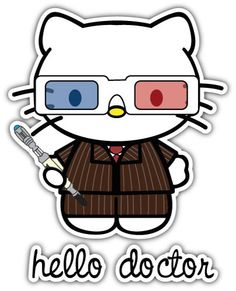 Hello-Kitty-Doctor-Who-Printed-Sticker-Decal-Funny-Dr-Retro-JDM-VAG-EURO-Car
