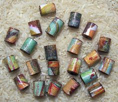 Paper beads made from recycled magazines,
