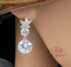 Starfish CZ Earrings Bridal Crystal Wedding Earrings