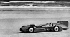 """Sir Malcom Campbell pushing 300mph at Daytona Beach in the """"Blue Bird"""" LSR car. In September, 1935 at the Bonneville Salt Flats he would be the first man ever to break 300mph."""