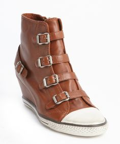 Ash caramel smooth leather bucklestrap wedge heel sneakers.