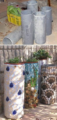Mosaic Planters From PVC Pipes