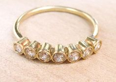 Gold ring with seven diamonds by ruiandaguri on Etsy, $1000.00