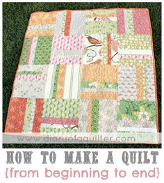 "super simple, cute quilt pattern -- this is also a great start to finish ""how to make a quilt"" tutorial"