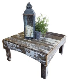 Features:  -Multi-color rustic design.  -Reclaimed character.  -Square coffee table.  -Haven collection.  -Made in the USA.  Top Finish: -Antique.  Base Finish: -Antique.  Distressed: -Yes.  Top Mater