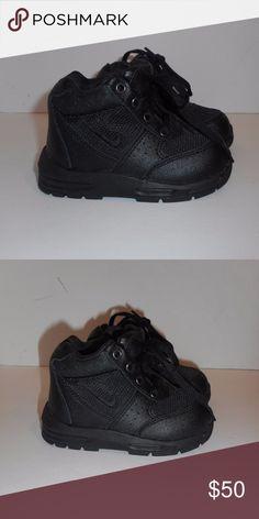 NIKE ACG BABY crib shoes 6.5 c black leather canva