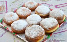 Gogoși umplute cu gem sau cremă de vanilie, ciocolată - foarte pufoase | Savori Urbane Romanian Desserts, Bread And Pastries, Muffins, Recipies, Sweets, Cookies, Baking, Food, Ideas