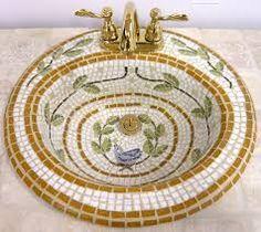 Mosaic Bathroom Sink - white, gold, floral...